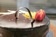 Choclate sacher cake. Cakes in the cake display at store stock photo