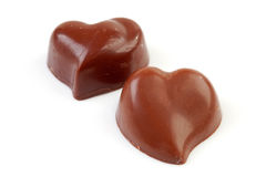 Choclates in shape of hearts Stock Photos