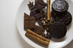 Choco用咖啡和桂香14 库存图片