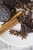 Choco用咖啡和桂香03 库存图片
