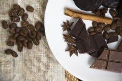 Choco用咖啡和桂香33 免版税库存图片