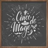 Cinco de mayo vector letteing logo with chalkboard background. stock illustration