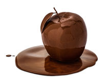 Choco Apple. An apple covered with melted chocolate, isolated on white Royalty Free Stock Photos