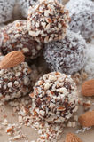 Choco Ball. S with chopped almonds and grated coconut Stock Images