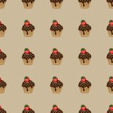Choco cake brown seamless pattern Stock Image