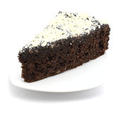 Choco cake with white chocolate on white backgroun Stock Photo