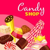 Choco candy shop concept background, cartoon style royalty free illustration