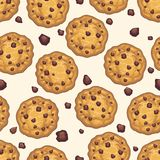 Choco chip cookie seamless pattern. Homemade chocolate cookies and crumbs white background, vector illustration Stock Photos