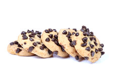 Choco chip cookies. Beautiful shot of choco chip cookies on white background Stock Photos