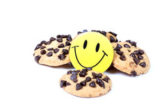 Choco chip cookies. Beautiful shot of choco chip cookies on white background Royalty Free Stock Photography