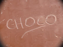 Choco on chocolate. The world choco written on chocolate Stock Photo