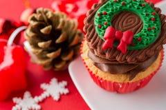 Choco Christmas cupcake. With decoration royalty free stock photo