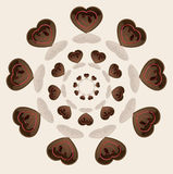 Choco Circle Love. Beautiful realistic chocolate hearts in circle Royalty Free Stock Photos