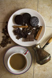 Choco with coffee and cinnamon 17. Choco cookies with chocolate bar, coffee beans and aroma sticks Stock Photo