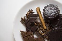 Choco with coffee and cinnamon 13. Choco cookies with chocolate bar, coffee beans and aroma sticks Royalty Free Stock Photos