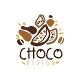 Choco label design, hand drawn vector Illustration in brown colors. Logo template for branding identity restaurant, cafe, confectionery colorful Royalty Free Stock Images