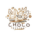 Choco label, hand drawn vector Illustration. Logo template for branding identity restaurant, cafe, confectionery colorful Royalty Free Stock Images