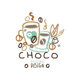 Choco label original design, hand drawn vector Illustration. Logo template for branding identity restaurant, cafe, confectionery colorful Stock Photo