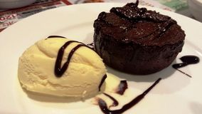 Choco Lava Cake Royalty-vrije Stock Afbeeldingen