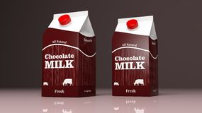 Choco milk carton boxes. 3d illustration Stock Image