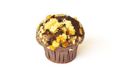 Choco orange crumble muffin. Isolated on white background Royalty Free Stock Images