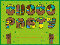 Choco Party. Funny brown font. Green invitation Stock Photos
