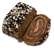 Choco roll cake. And slice Stock Images
