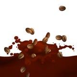 Choco Splash. Illustration of a Choco Splash with Coffee Beans Stock Image