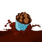 Choco Splash. Illustration of a Choco Splash with Cup Cake Royalty Free Stock Photos