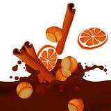 Choco Splash. Illustration of a Choco Splash with Hazelnuts, Oranges and Cinnamon Stock Images