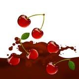 Choco Splash. Illustration of a Choco Splash with Cherries Stock Images