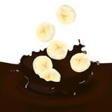 Choco Splash. Illustration of a Choco Splash with Banana Royalty Free Stock Images
