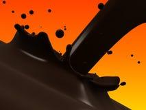 Choco splash. 3d rendered illustration of a choco splash on an orange background Stock Photos