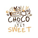 Choco sweets shop hand drawn original logo design Royalty Free Stock Photography