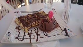 Chocola gentil de caramel de Crêpe glace Images libres de droits