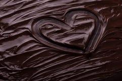 Chocolade achtergrondgolvenhart het koken concept - gesmolten choco Royalty-vrije Stock Foto
