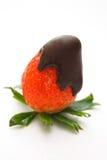 Chocolade behandelde aardbei Stock Foto