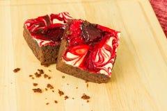 Chocolade behandelde aardbei brownies Royalty-vrije Stock Foto