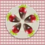 Chocolade behandelde aardbeien Royalty-vrije Stock Foto's