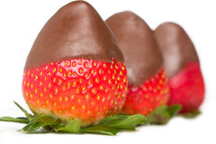 Chocolade behandelde aardbeien Royalty-vrije Stock Fotografie
