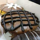 Chocolade Behandelde Doughnut Royalty-vrije Stock Fotografie