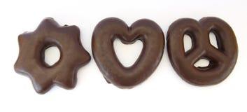 Chocolade behandelde peperkoekstukken Royalty-vrije Stock Afbeeldingen