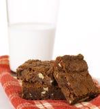Chocolade Brownies met Okkernoten Royalty-vrije Stock Afbeeldingen