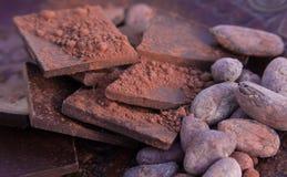 Chocolade, cacaobonen en gemalen cacao stock foto's