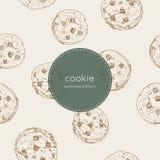 Chocolade Chip Cookie , naadloze patroonvector stock illustratie