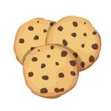 Chocolade Chip Cookies Het pictogram van het Chocokoekje Vector illustratie Royalty-vrije Stock Afbeelding