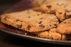 Chocolade Chip Cookies op Plaat 2 Royalty-vrije Stock Fotografie