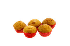 Chocolade Chip Muffin op witte achtergrond wordt geïsoleerd die Stock Foto