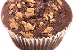 Chocolade cupcake macro royalty-vrije stock afbeelding