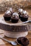 Chocolade cupcake met heemst Stock Afbeelding